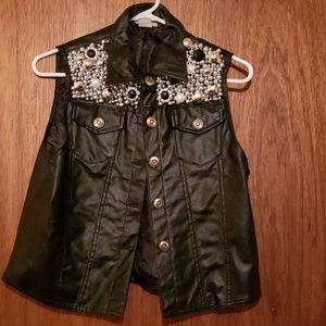 Jackets & Blazers - Lined and Embellished Vegan Leather Vest